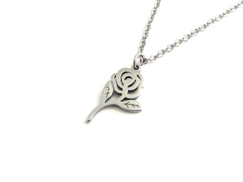 rose flower charm on a stainless steel chain