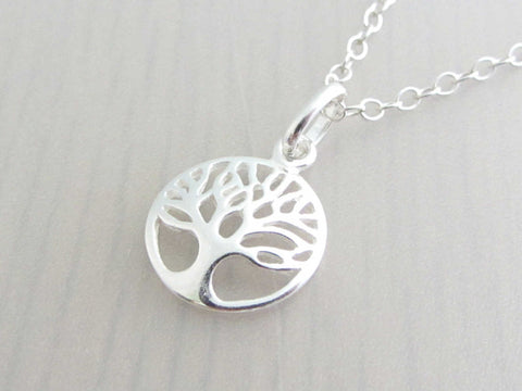 silver round tree charm on a silver chain