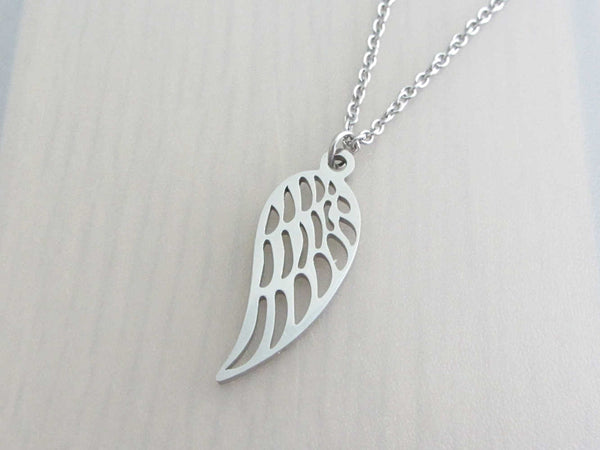 single angel wing charm on a stainless steel chain