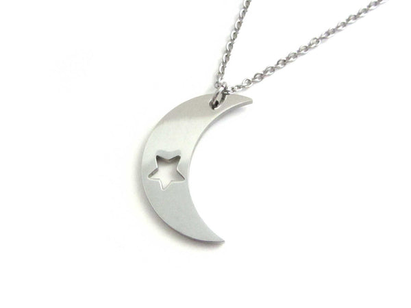 crescent moon charm with cut out star on a stainless steel chain