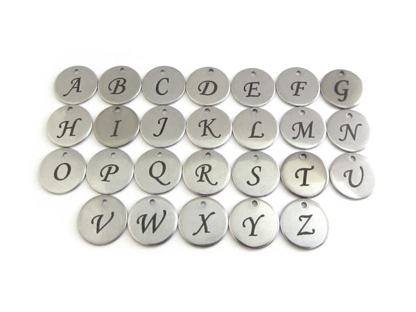 laser engraved capital initial letter disc charms, letters A-Z