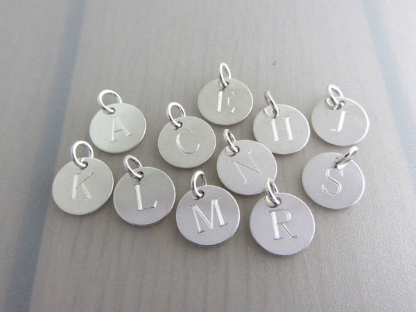 silver engraved capital initial letter disc charms