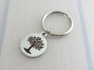 laser engraved tree charm on a keyring