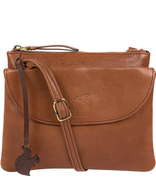 'Tillie' Conker Brown Leather Cross Body Bag