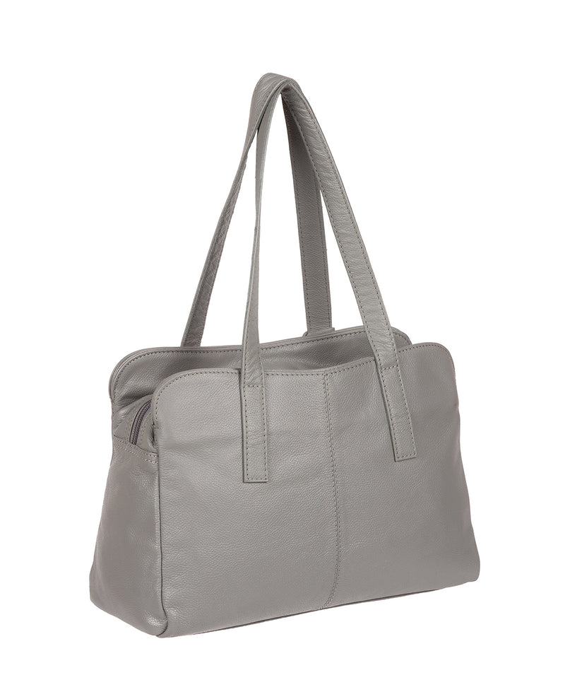 'Liana' Silver Grey Leather Handbag