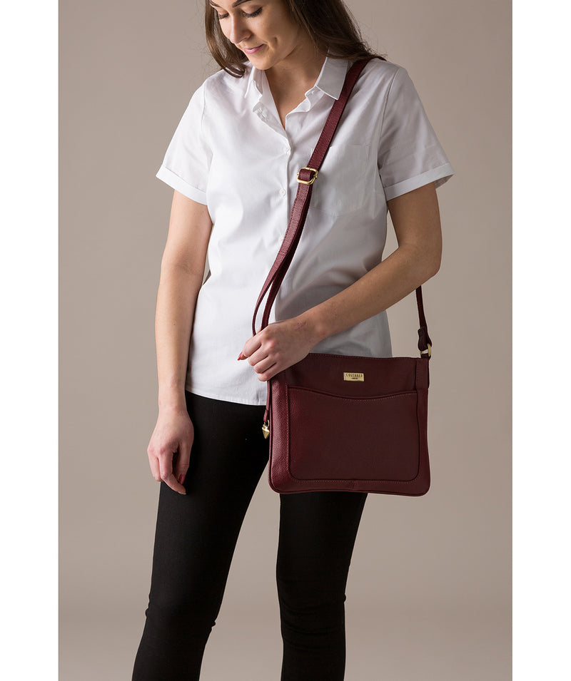 'Margo' Ruby Red Leather Cross-Body Bag