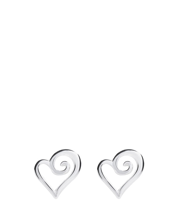 Gift Packaged 'Anastasie' Sterling Silver Swirled Heart Stud Earrings