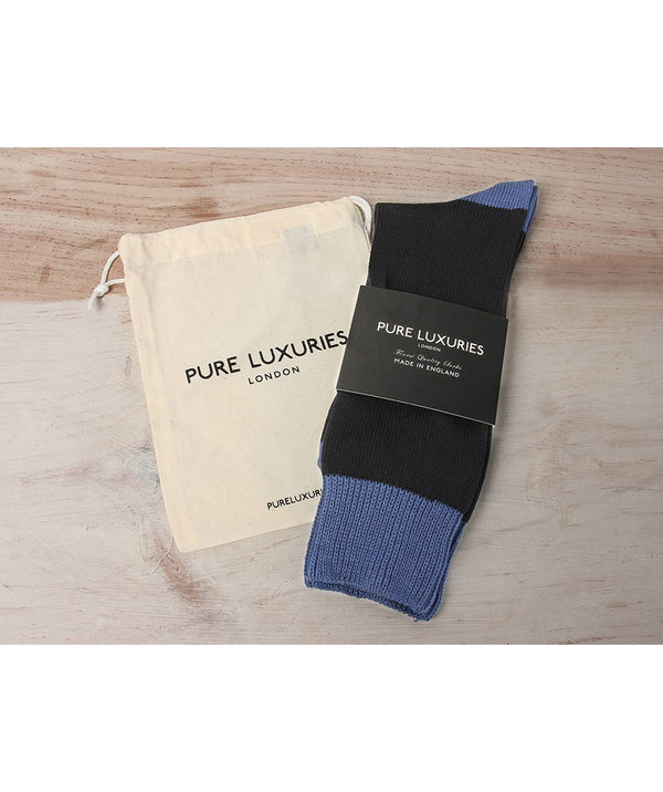 Anthracite & Blue Cotton Socks