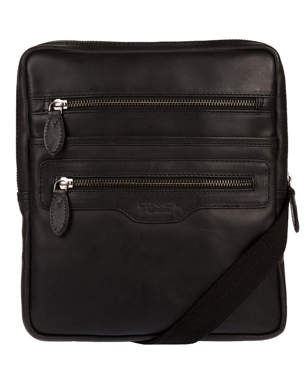 'Hoya' Black Leather Cross Body Bag