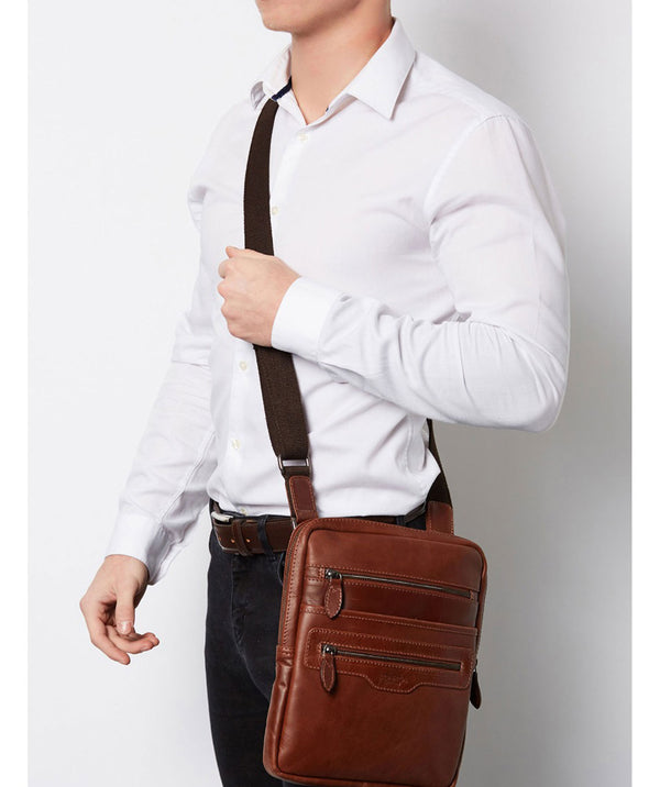 'Hoya' Conker Brown Leather Cross Body Bag