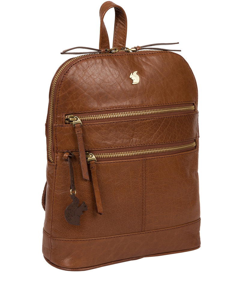 'Francisca' Conker Brown Leather Backpack image 5