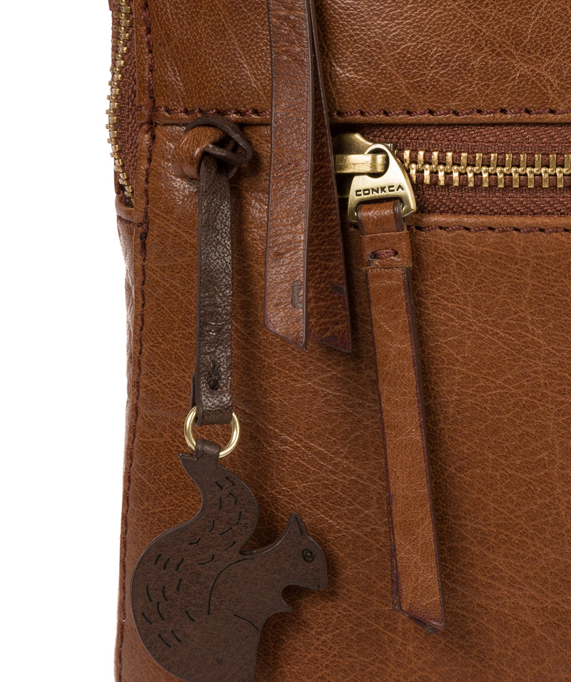 'Francisca' Conker Brown Leather Backpack image 6