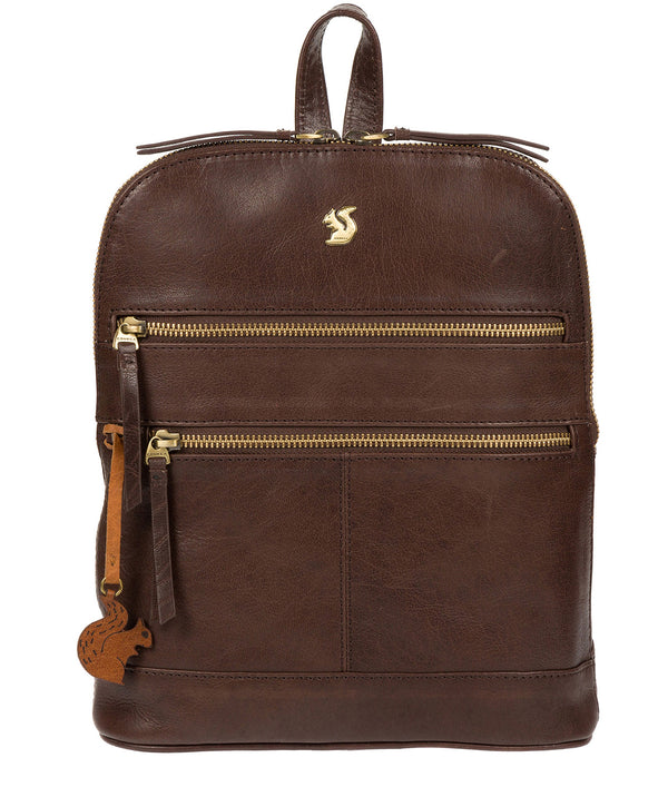 'Francisca' Dark Brown Leather Backpack image 1