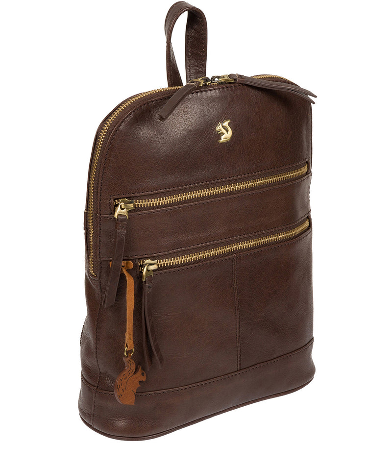 'Francisca' Dark Brown Leather Backpack Pure Luxuries London