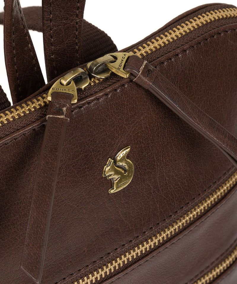 'Francisca' Dark Brown Leather Backpack image 6