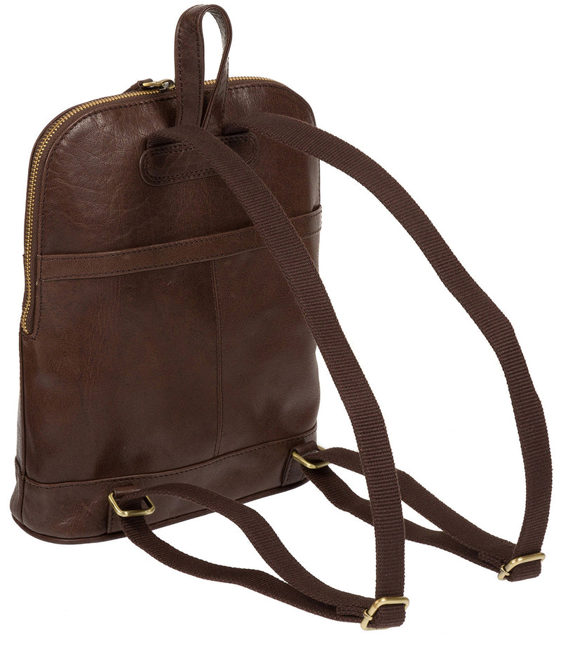'Francisca' Dark Brown Leather Backpack image 8