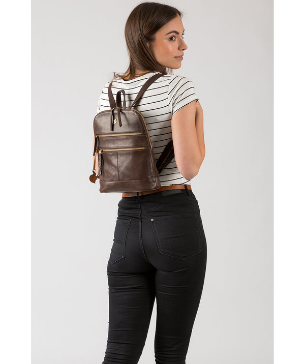 'Francisca' Dark Brown Leather Backpack image 2