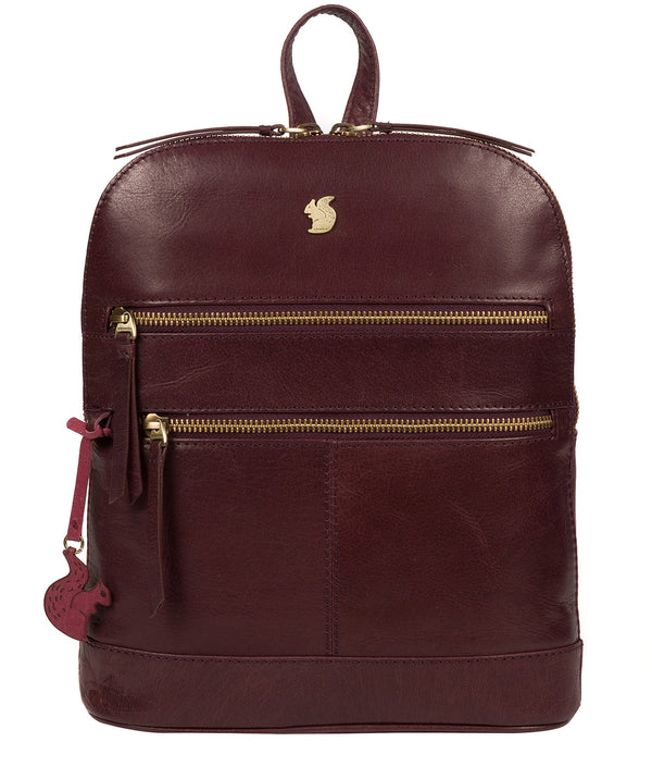 'Francisca' Plum Leather Backpack image 1