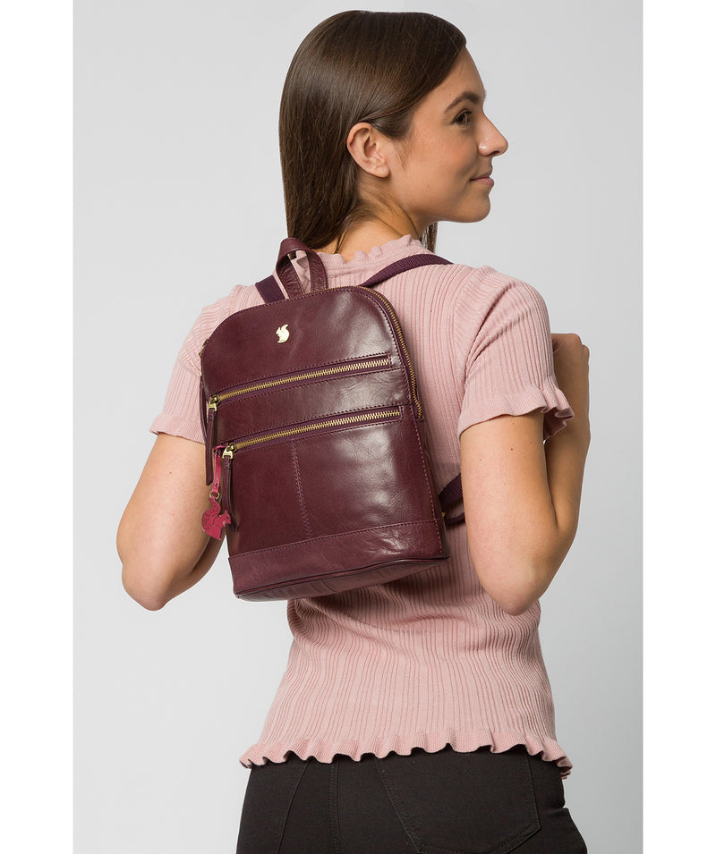'Francisca' Plum Leather Backpack image 2