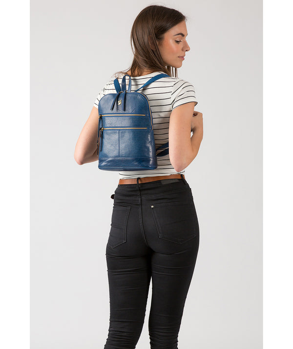 'Francisca' Snorkel Blue Leather Backpack image 2