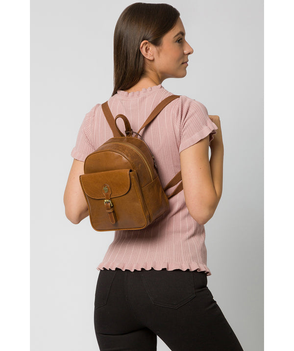 'Eloise' Dark Tan Leather Backpack image 2
