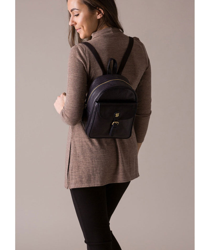 'Eloise' Navy Leather Backpack