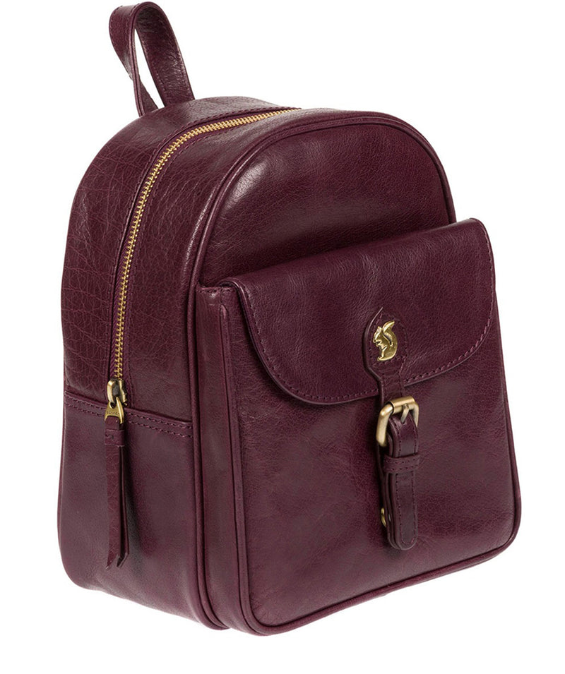'Eloise' Plum Leather Backpack image 3