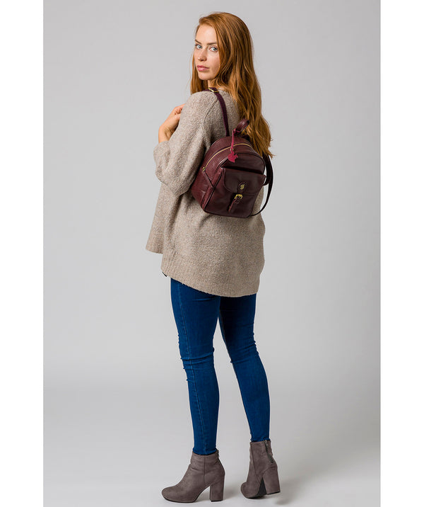'Eloise' Plum Leather Backpack image 2