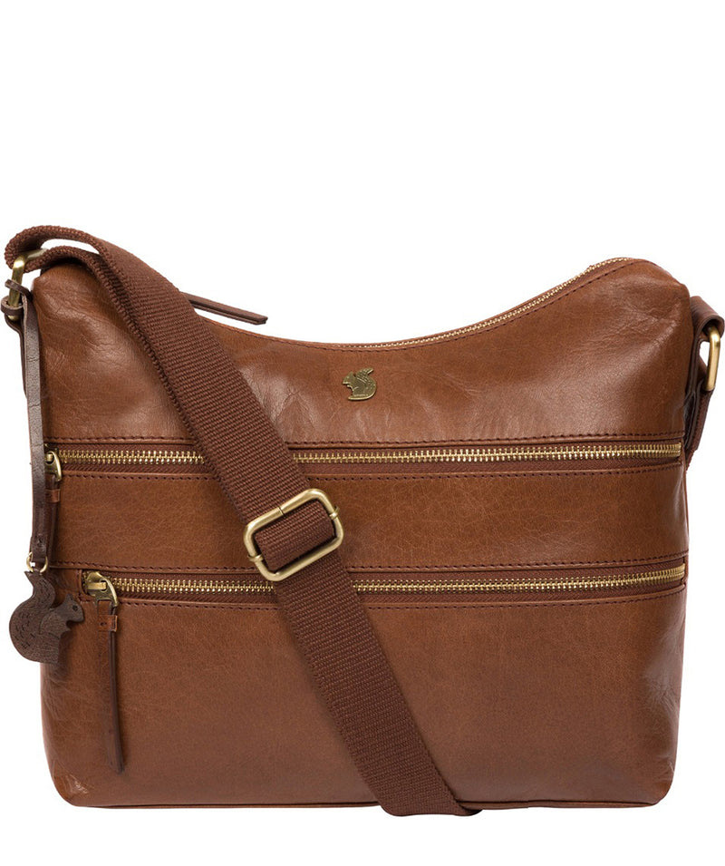 'Georgia' Conker Brown Leather Shoulder Bag image 1