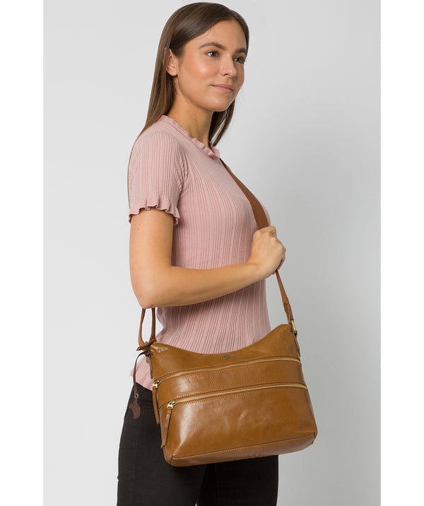 'Georgia' Dark Tan Leather Shoulder Bag image 2