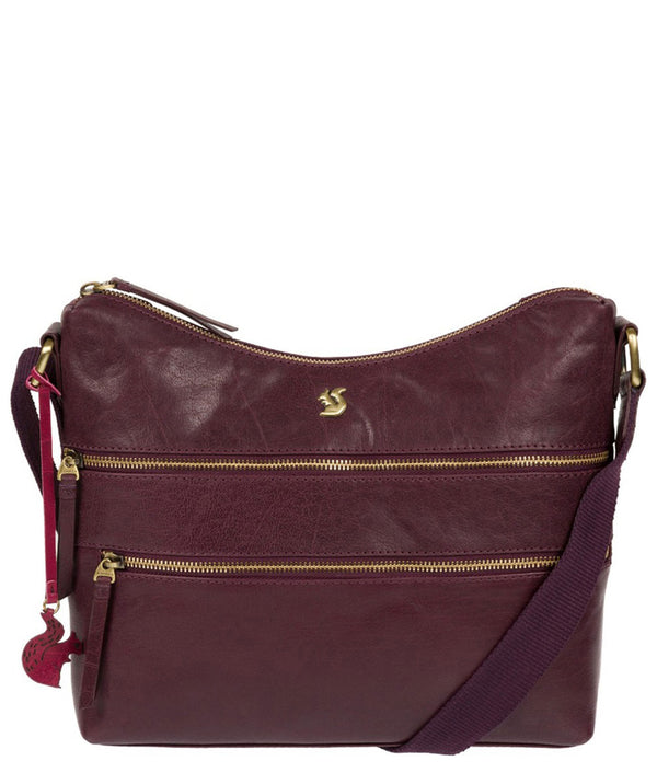 'Georgia' Plum Leather Shoulder Bag