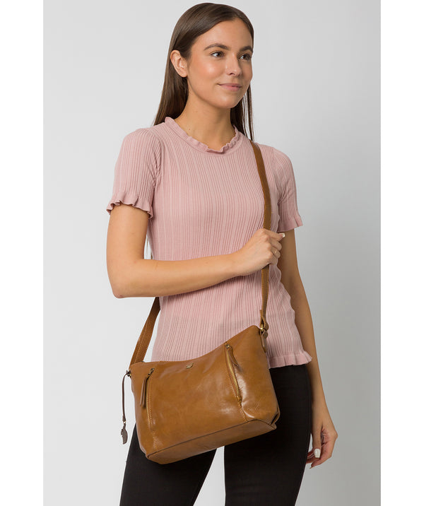 'Esta' Dark Tan Leather Cross Body Bag image 2