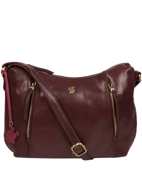 'Esta' Plum Leather Cross Body Bag Pure Luxuries London