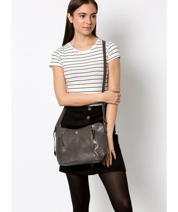 'Esta' Slate Leather Cross Body Bag Pure Luxuries London