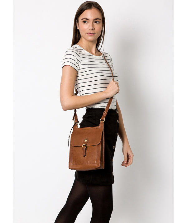 'Sasha' Conker Brown Leather Cross Body Bag image 2