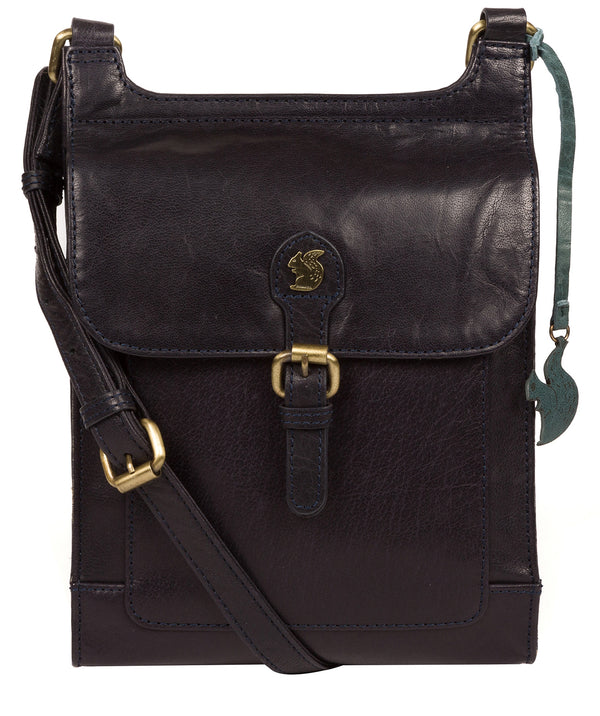 'Sasha' Navy Leather Cross Body Bag Pure Luxuries London
