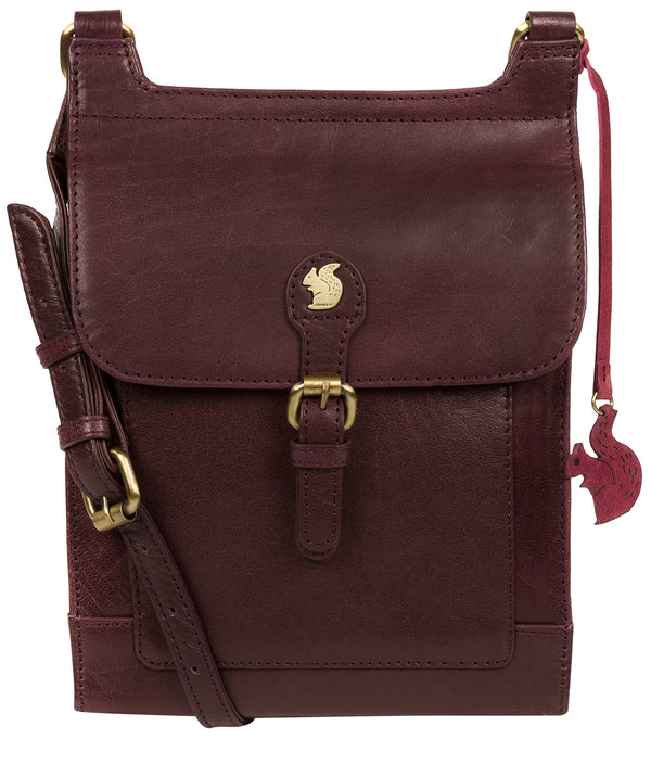 'Sasha' Plum Leather Cross Body Bag image 1