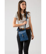 'Sasha' Snorkel Blue Leather Cross Body Bag image 2