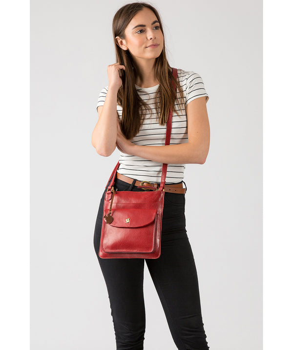 'Lauryn' Chilli Pepper Leather Cross Body Bag Pure Luxuries London