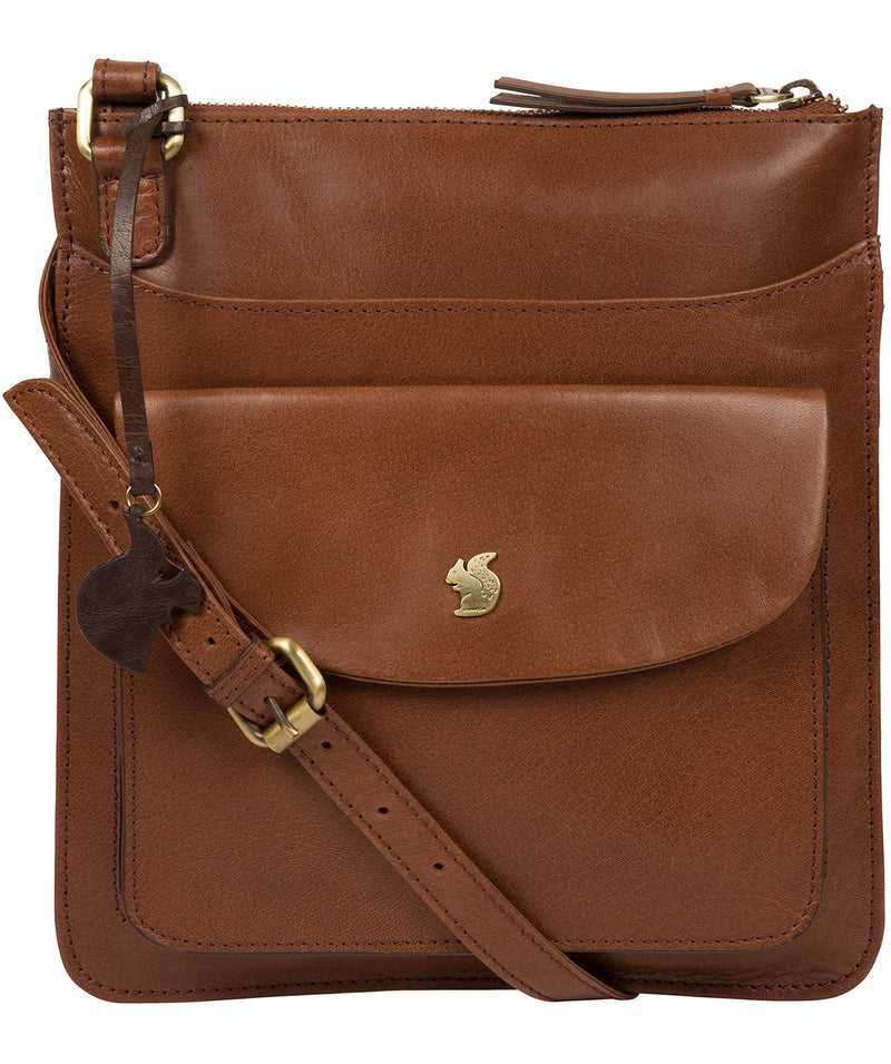 'Lauryn' Conker Brown Leather Cross Body Bag image 1