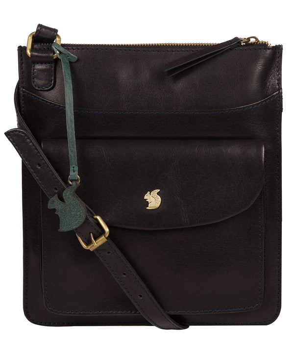 'Lauryn' Navy Leather Cross Body Bag Pure Luxuries London