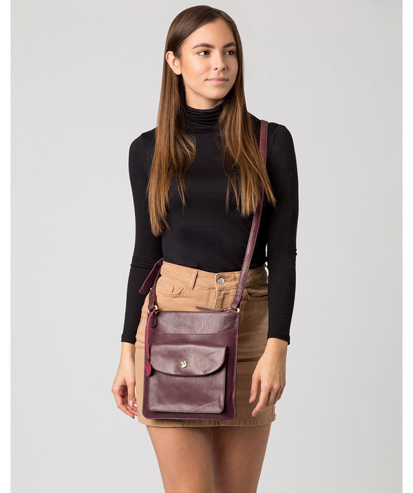 'Lauryn' Plum Leather Cross Body Bag image 2