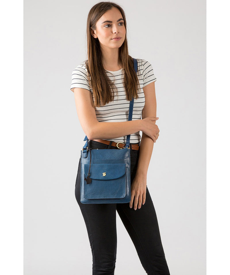 'Lauryn' Snorkel Blue Leather Cross Body Bag image 2