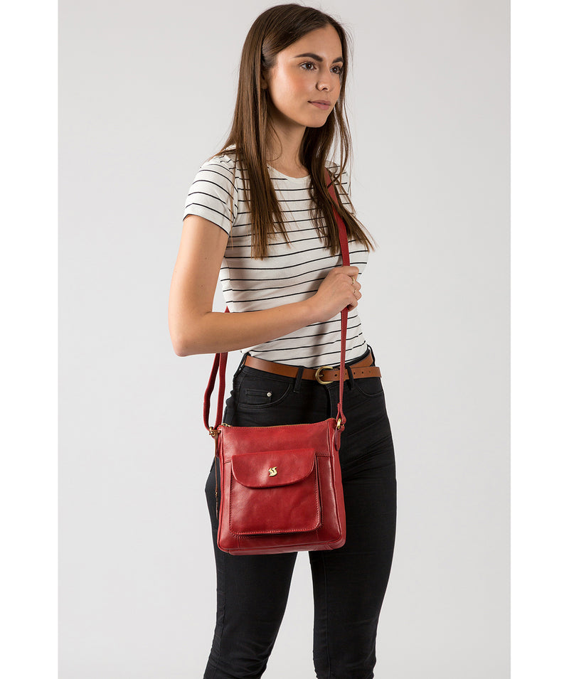 'Shona' Chilli Pepper Leather Cross Body Bag image 2