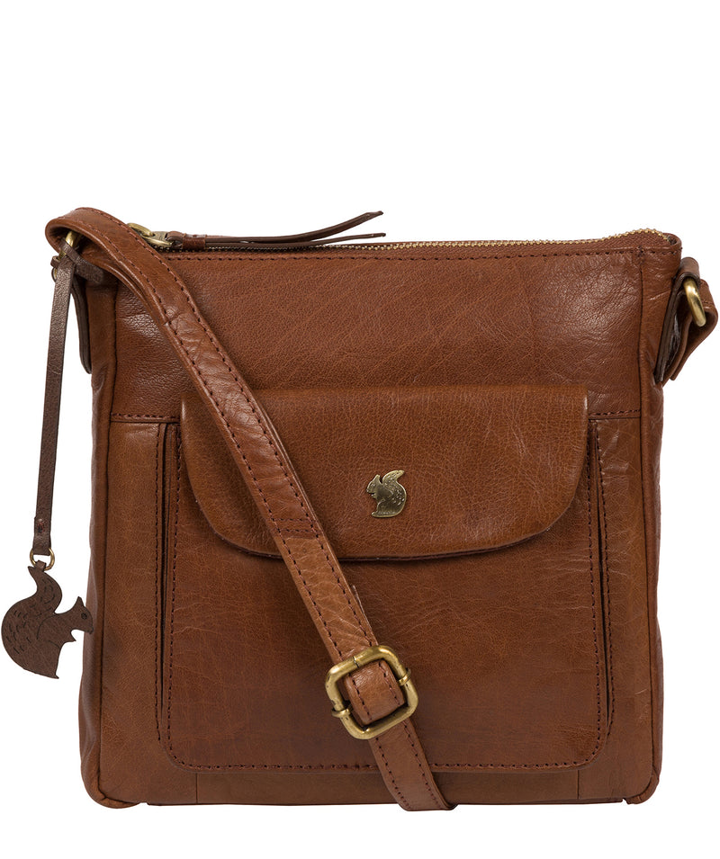 'Shona' Conker Brown Leather Cross Body Bag image 1