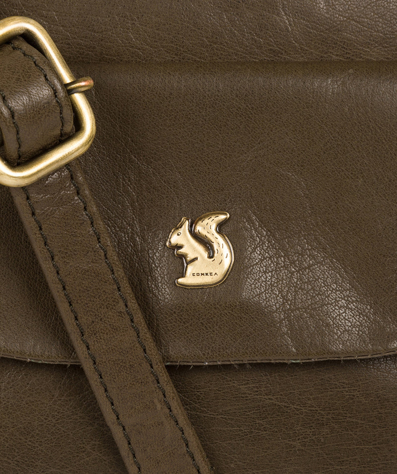 'Shona' Olive Leather Cross Body Bag image 5
