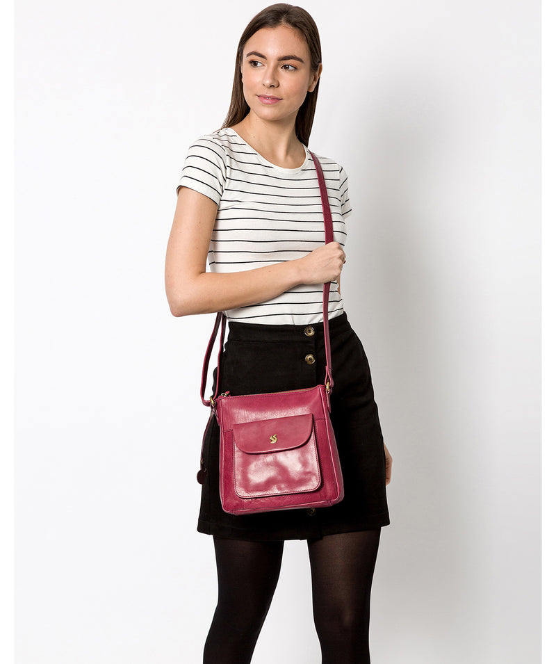 'Shona' Orchid Leather Cross Body Bag image 2