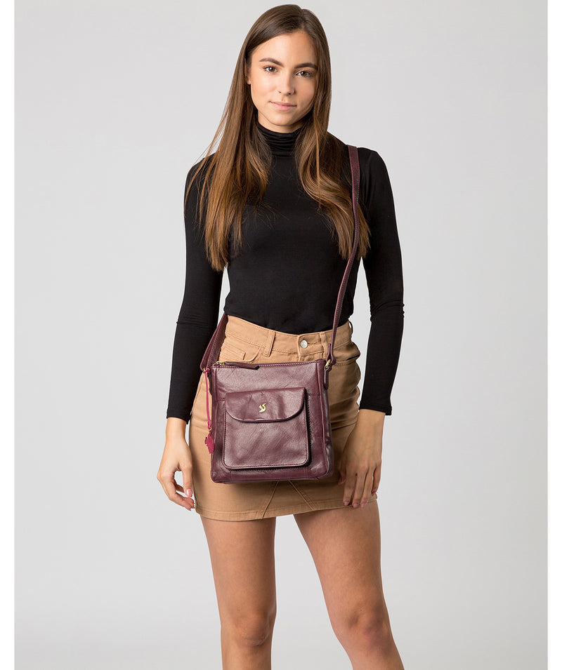 'Shona' Plum Leather Cross Body Bag image 2