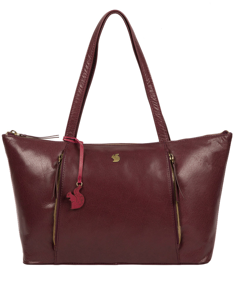 'Clover' Plum Leather Tote Bag image 1
