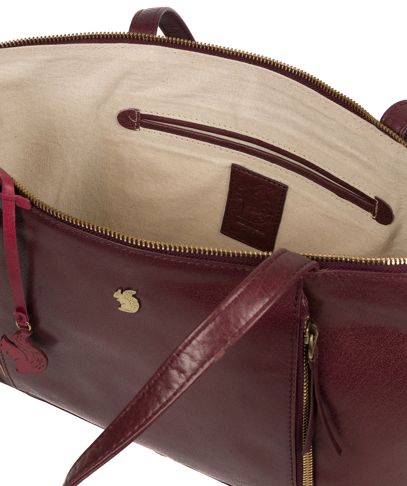 'Clover' Plum Leather Tote Bag image 4